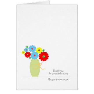 Tarjetas del aniversario del empleado, flores colo