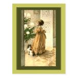 Tarjetas del árbol de navidad y de la niña del Vic Tarjeta Postal