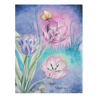 Tarjetas del arte de los tulipanes de postal