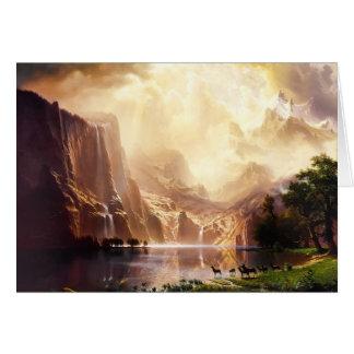 Tarjetas del arte del vintage de las montañas de