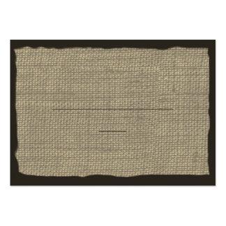 Tarjetas del asiento de la mirada de la arpillera tarjetas de visita grandes