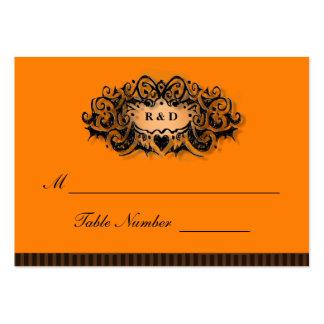Tarjetas del asiento del boda - naranja y negro de tarjetas de visita grandes