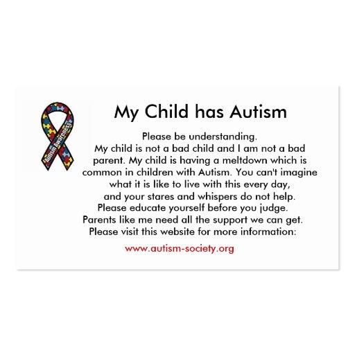 Tarjetas del autismo tarjetas de negocios