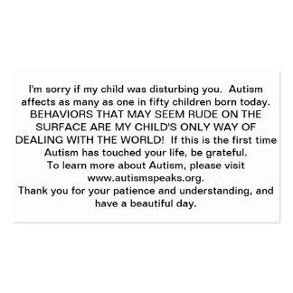 Tarjetas del autismo tarjetas de visita