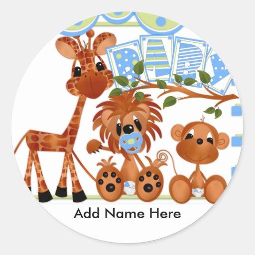 Tarjetas del bebé de los animales del parque pegatina redonda