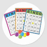 Tarjetas del bingo pegatina redonda