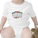 Tarjetas del bingo trajes de bebé