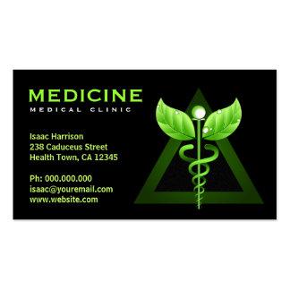 Tarjetas del caduceo del negocio de la medicina al plantillas de tarjetas de visita