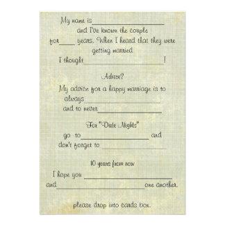 Tarjetas del comentario del consejo del boda de la invitación