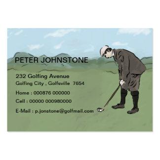 Tarjetas del contacto del jugador de golf del tarjetas de visita grandes