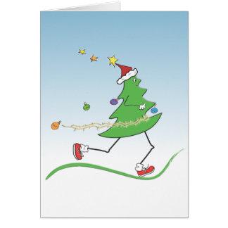 Tarjetas del corredor del árbol de navidad con el