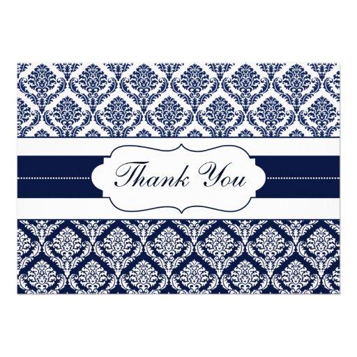 """tarjetas del damasco de los """"azules marinos"""" invitacion personalizada"""