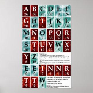 Tarjetas del deletreo del número mágico poster