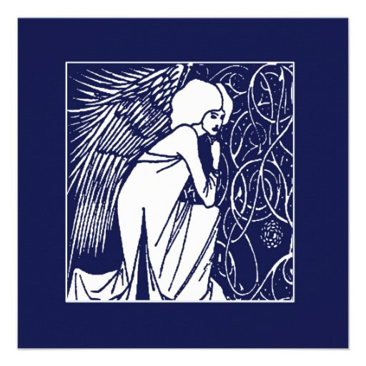 Tarjetas del día de fiesta del ángel de Beardsley  Invitaciones Personalizada