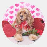 Tarjetas del día de San Valentín - cocker spaniel Pegatina Redonda
