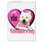 Tarjetas del día de San Valentín de Terrier blanco
