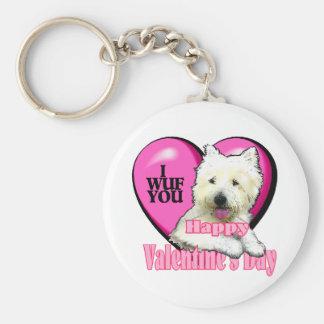 Tarjetas del día de San Valentín de Terrier blanco Llavero Redondo Tipo Pin