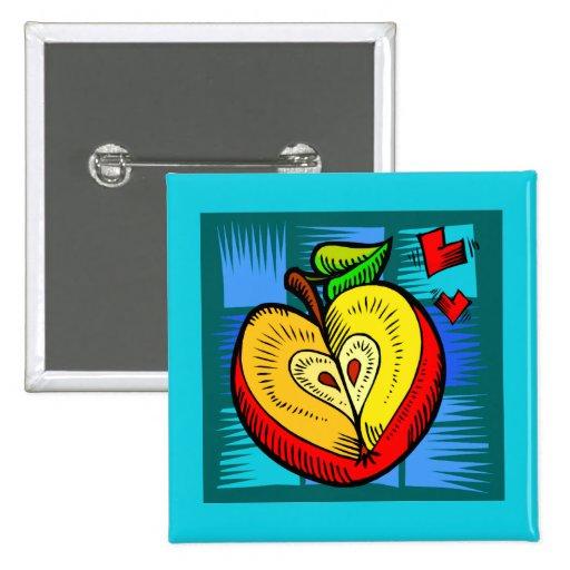 Tarjetas del día de San Valentín del amor del cora Pin Cuadrado