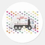 Tarjetas del día de San Valentín del camión de Etiquetas Redondas
