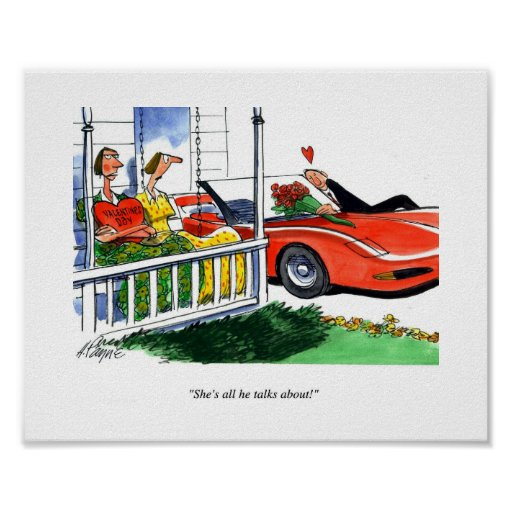Tarjetas del día de San Valentín del Corvette Posters