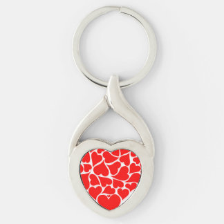 Tarjetas del día de San Valentín dispersadas de Llavero Plateado En Forma De Corazón