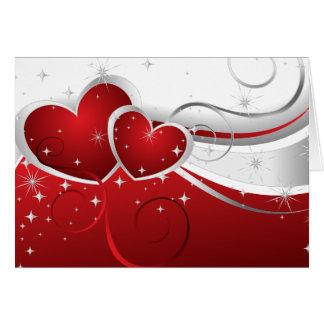 Tarjetas del día de San Valentín dos corazones