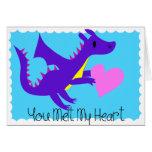 Tarjetas del día de San Valentín lindas del dragón