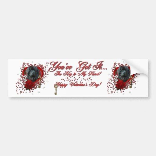 Tarjetas del día de San Valentín - llave a mi cora Pegatina Para Auto