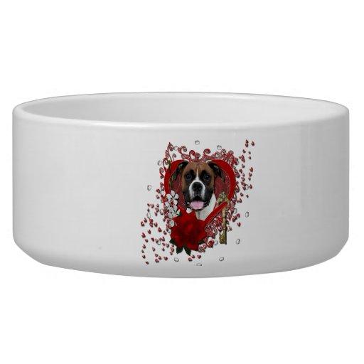 Tarjetas del día de San Valentín - llave a mi cora Tazon Para Perro