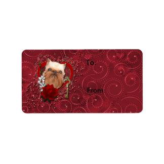Tarjetas del día de San Valentín - llave a mi cora Etiqueta De Dirección