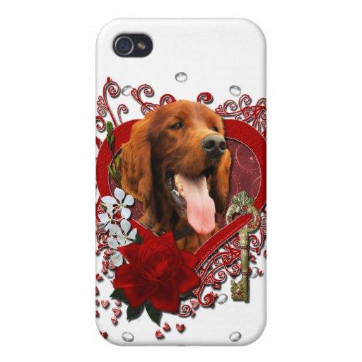 Tarjetas del día de San Valentín - llave a mi cora iPhone 4 Funda
