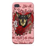Tarjetas del día de San Valentín - llave a mi cora iPhone 4 Protectores