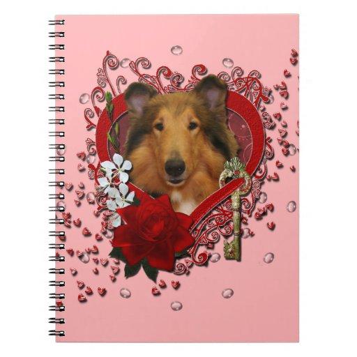 Tarjetas del día de San Valentín - llave a mi cora Libros De Apuntes Con Espiral