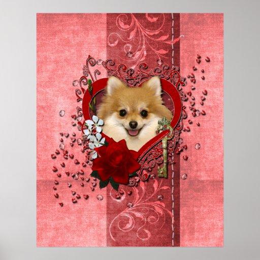 Tarjetas del día de San Valentín - llave a mi cora Poster