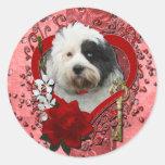 Tarjetas del día de San Valentín - llave a mi cora Pegatina Redonda