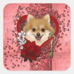 Tarjetas del día de San Valentín - llave a mi cora Calcomania Cuadrada Personalizada