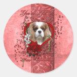Tarjetas del día de San Valentín - llave a mi cora Etiqueta Redonda