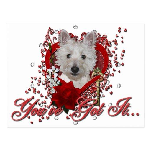 Tarjetas del día de San Valentín - llave a mi cora Postal