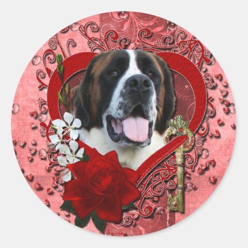 Tarjetas del día de San Valentín - llave a mi Pegatina Redonda