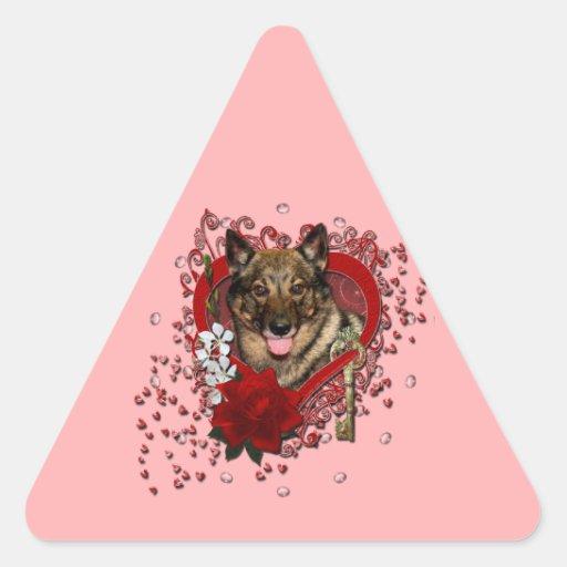 Tarjetas del día de San Valentín - llave a mi Pegatina Triangular