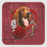 Tarjetas del día de San Valentín - llave a mi Calcomania Cuadradas Personalizada