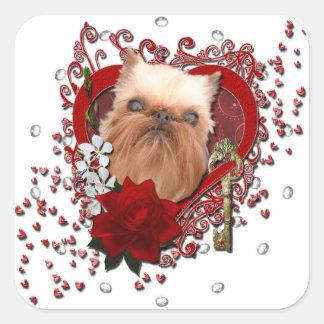 Tarjetas del día de San Valentín - llave a mi Pegatina Cuadrada