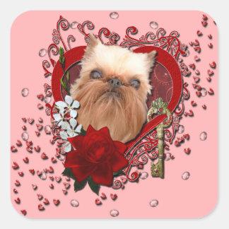 Tarjetas del día de San Valentín - llave a mi Calcomanía Cuadradas Personalizada
