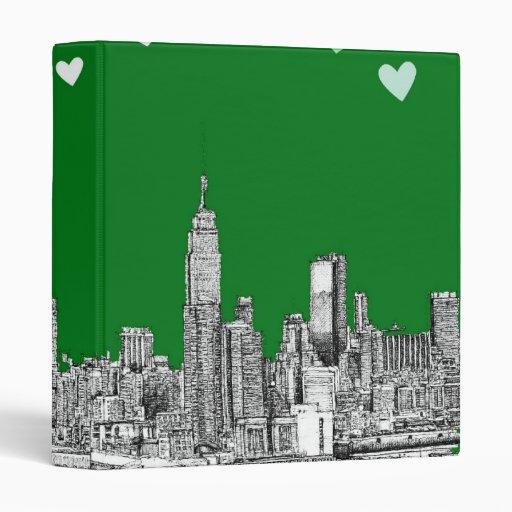 tarjetas del día de San Valentín NYC en verde