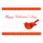 Tarjetas del día de San Valentín rojas del pájaro Tarjeta De Visita