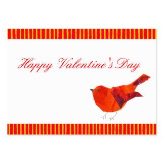 Tarjetas del día de San Valentín rojas del pájaro Tarjetas De Visita Grandes