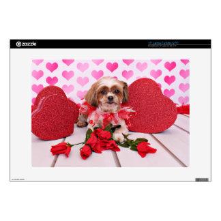 Tarjetas del día de San Valentín - Shorkie - marga Portátil Calcomanía