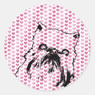 Tarjetas del día de San Valentín - silueta de Pegatina Redonda