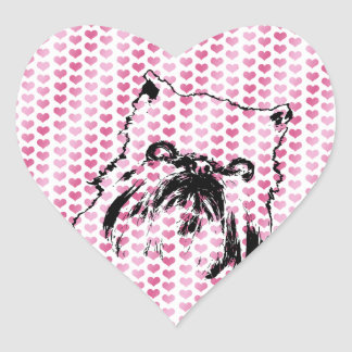 Tarjetas del día de San Valentín - silueta de Pegatina De Corazón Personalizadas