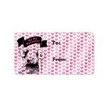 Tarjetas del día de San Valentín - silueta del oso Etiqueta De Dirección